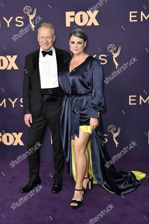 Stellan Skarsg'rd, Megan Everett. Stellan Skarsgard, left, and Megan Everett arrive at the 71st Primetime Emmy Awards, at the Microsoft Theater in Los Angeles