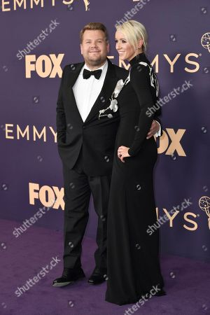 Stock Picture of James Corden, Julia Carey. James Corden, left, and Julia Carey arrive at the 71st Primetime Emmy Awards, at the Microsoft Theater in Los Angeles