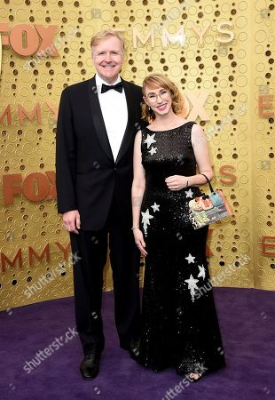Stock Image of Allen Blue, Kira Snyder. Allen Blue, left, and Kira Snyder arrive at the 71st Primetime Emmy Awards, at the Microsoft Theater in Los Angeles
