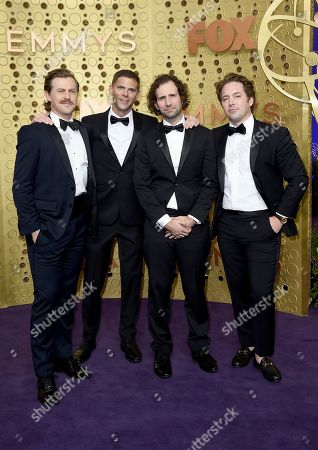 Alex Moffat, Mikey Day, Kyle Mooney, Beck Bennett. Alex Moffat, from left, Mikey Day, Kyle Mooney and Beck Bennett arrive at the 71st Primetime Emmy Awards, at the Microsoft Theater in Los Angeles