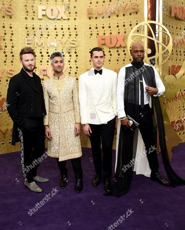 Bobby Berk, Tan France, Antoni Porowski, Karamo Brown. Bobby Berk, from left, Tan France, Antoni Porowski, and Karamo Brown arrive at the 71st Primetime Emmy Awards, at the Microsoft Theater in Los Angeles