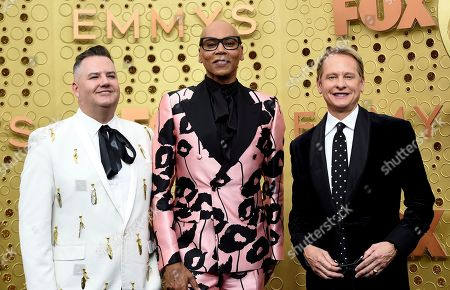 Ross Mathews, RuPaul, Carson Kressley. Ross Mathews, from left, RuPaul and Carson Kressley arrive at the 71st Primetime Emmy Awards, at the Microsoft Theater in Los Angeles