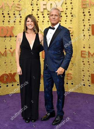 Stock Photo of Patrick Fabian, Mandy Fabian. Mandy Fabian, left, and Patrick Fabian arrive at the 71st Primetime Emmy Awards, at the Microsoft Theater in Los Angeles