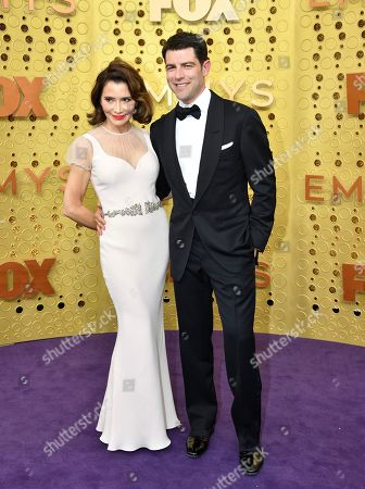 Stock Photo of Tess Sanchez, Max Greenfield. Tess Sanchez, left, and Max Greenfield arrive at the 71st Primetime Emmy Awards, at the Microsoft Theater in Los Angeles