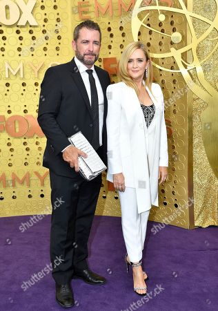Stock Image of Samantha Bee, Jason Jones. Jason Jones, left, and Samantha Bee arrive at the 71st Primetime Emmy Awards, at the Microsoft Theater in Los Angeles