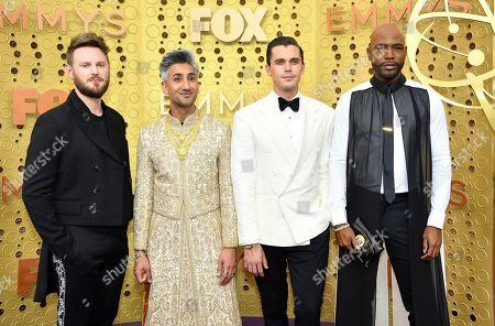 Bobby Berk, Tan France, Antoni Porowski, Karamo Brown. Bobby Berk, from left, Tan France, Antoni Porowski and Karamo Brown arrive at the 71st Primetime Emmy Awards, at the Microsoft Theater in Los Angeles