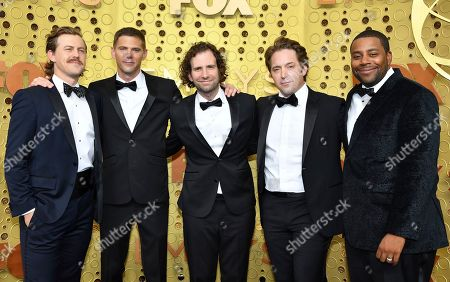 Alex Moffat, Mikey Day, Kyle Mooney, Beck Bennett, Kenan Thompson. Alex Moffat, from left, Mikey Day, Kyle Mooney, Beck Bennett and Kenan Thompson arrive at the 71st Primetime Emmy Awards, at the Microsoft Theater in Los Angeles