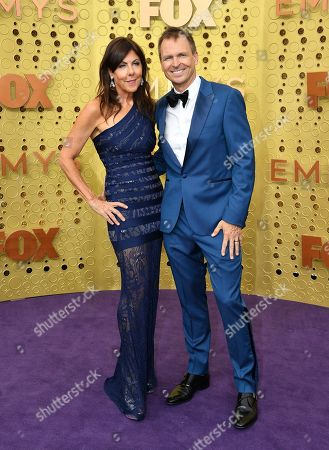 Stock Picture of Louise Keoghan, Phil Keoghan. Louise Keoghan, left, and Phil Keoghan arrive at the 71st Primetime Emmy Awards, at the Microsoft Theater in Los Angeles