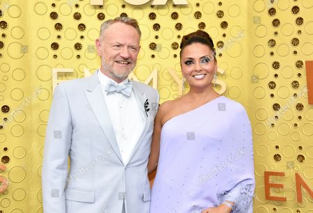 Jared Harris, Allegra Riggio. Jared Harris, left, and Allegra Riggio arrive at the 71st Primetime Emmy Awards, at the Microsoft Theater in Los Angeles