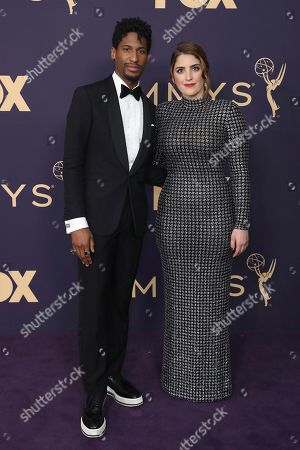 Jon Batiste, left, and Suleika Jaouad arrive at the 71st Primetime Emmy Awards, at the Microsoft Theater in Los Angeles