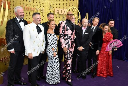 "RuPaul Charles, Pamela Post, Tim Palazzola, Randy Barbato, Fenton Bailey, Tom Campbel, Steven Corfe, Mandy Salangsang, Bruce McCoy, Michele Mills, Jacqueline Wilson, Thairin Smothers, John Polly, Michelle Visage, Jen Passovoy, Ross Matthews, Carson Kressley. The team from ""RuPaul's Drag Race"" arrives at the 71st Primetime Emmy Awards, at the Microsoft Theater in Los Angeles"