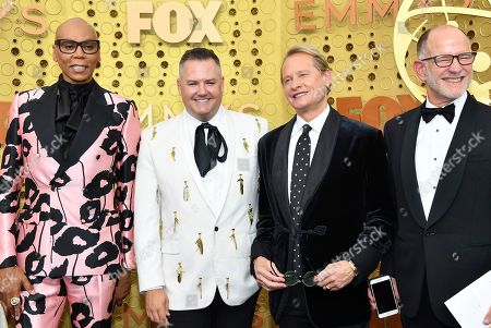 Stock Picture of Carson Kressley, RuPaul Charles, Ross Matthews, Randy Barbato. RuPaul Charles, from left, Ross Matthews, Carson Kressley, and Randy Barbato arrive at the 71st Primetime Emmy Awards, at the Microsoft Theater in Los Angeles