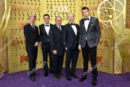 Timothy Simons, Reid Scott, Kevin Dunn, Matt Walsh, Gary Cole. Gary Cole, from left, Reid Scott, Kevin Dunn, Matt Walsh, and Timothy Simons arrive at the 71st Primetime Emmy Awards, at the Microsoft Theater in Los Angeles