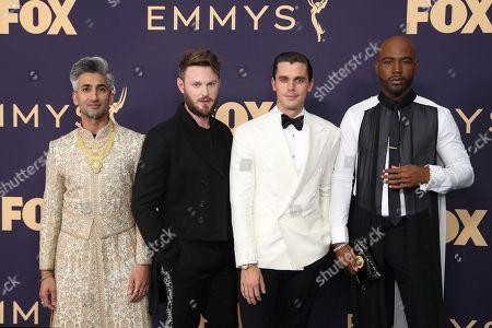 Tan France, Bobby Berk, Antoni Porowski, Karamo Brown. Tan France, from left, Bobby Berk, Antoni Porowski and Karamo Brown arrive at the 71st Primetime Emmy Awards, at the Microsoft Theater in Los Angeles
