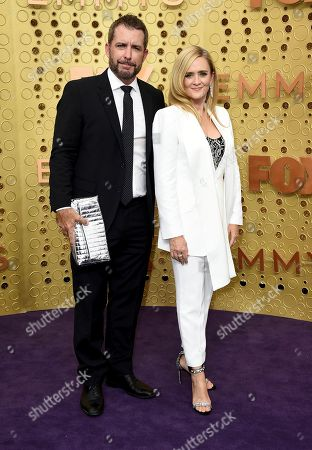 Jason Jones, Samantha Bee. Jason Jones, left, and Samantha Bee arrive at the 71st Primetime Emmy Awards, at the Microsoft Theater in Los Angeles