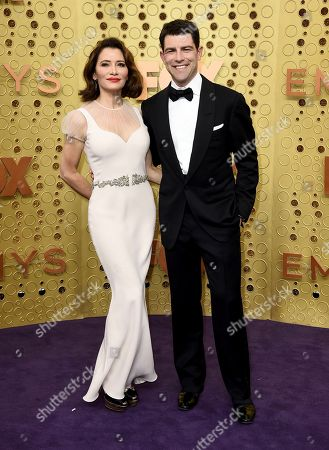 Stock Image of Tess Sanchez, Max Greenfield. Tess Sanchez, left, and Max Greenfield arrive at the 71st Primetime Emmy Awards, at the Microsoft Theater in Los Angeles