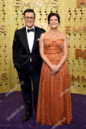Stephen Colbert, Evelyn Mcgee-Colbert. Stephen Colbert, left, and Evelyn Mcgee-Colbert arrive at the 71st Primetime Emmy Awards, at the Microsoft Theater in Los Angeles