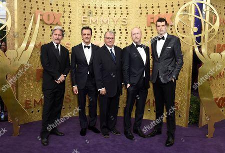 Gary Cole, Reid Scott, Kevin Dunn, Matt Walsh, Timothy Simons. Gary Cole, from left, Reid Scott, Kevin Dunn, Matt Walsh and Timothy Simons arrive at the 71st Primetime Emmy Awards, at the Microsoft Theater in Los Angeles