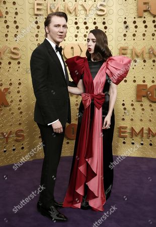 Paul Dano (L) and Zoe Kazan (R) arrive for the 71st annual Primetime Emmy Awards ceremony held at the Microsoft Theater in Los Angeles, California, USA, 22 September 2019. The Primetime Emmys celebrate excellence in national primetime television broadcasting.