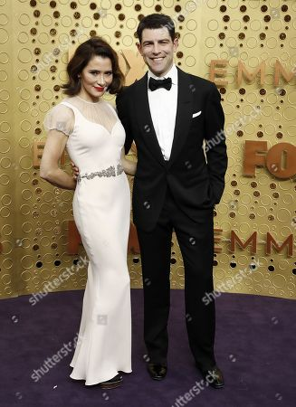 Stock Image of Max Greenfield and Tess Sanchez (L) arrives for the 71st annual Primetime Emmy Awards ceremony held at the Microsoft Theater in Los Angeles, California, USA, 22 September 2019. The Primetime Emmys celebrate excellence in national primetime television broadcasting.