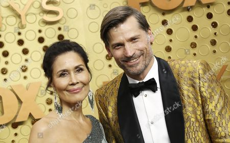 Nikolaj Coster-Waldau (R) and Nukaaka Coster-Waldau arrives for the 71st annual Primetime Emmy Awards ceremony held at the Microsoft Theater in Los Angeles, California, USA, 22 September 2019. The Primetime Emmys celebrate excellence in national primetime television broadcasting.