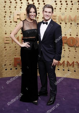 Adam DeVine (R) and Chloe Bridges (L) arrive for the 71st annual Primetime Emmy Awards ceremony held at the Microsoft Theater in Los Angeles, California, USA, 22 September 2019. The Primetime Emmys celebrate excellence in national primetime television broadcasting.