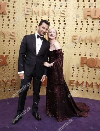 Patricia Clarkson (R) and Darwin Shaw (L) arrive for the 71st annual Primetime Emmy Awards ceremony held at the Microsoft Theater in Los Angeles, California, USA, 22 September 2019. The Primetime Emmys celebrate excellence in national primetime television broadcasting.