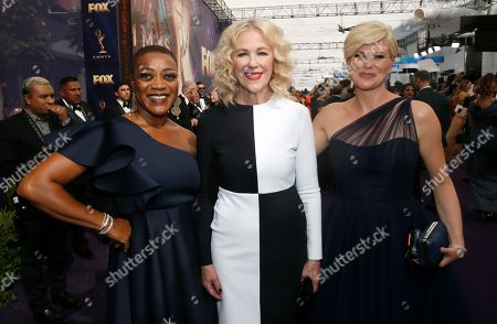Stock Photo of Karen Robinson, Catherine O'Hara, Jennifer Robertson. Karen Robinson, Catherine O'Hara and Jennifer Robertson arrive at the 71st Primetime Emmy Awards, at the Microsoft Theater in Los Angeles
