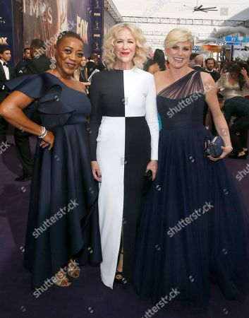 Stock Picture of Karen Robinson, Catherine O'Hara, Jennifer Robertson. Karen Robinson, Catherine O'Hara and Jennifer Robertson arrive at the 71st Primetime Emmy Awards, at the Microsoft Theater in Los Angeles