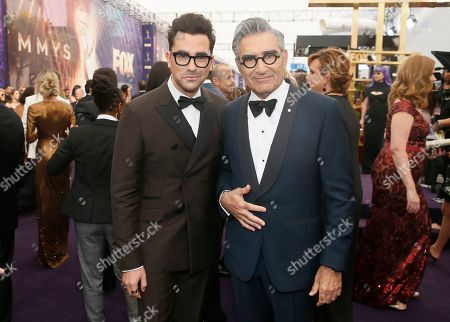 Daniel Levy, Eugene Levy. Daniel Levy and Eugene Levy arrive at the 71st Primetime Emmy Awards, at the Microsoft Theater in Los Angeles