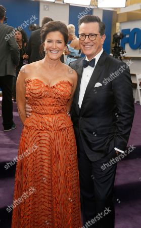 Stock Picture of Evelyn Mcgee-Colbert, Stephen Colbert. Evelyn Mcgee-Colbert and Stephen Colbert arrive at the 71st Primetime Emmy Awards, at the Microsoft Theater in Los Angeles