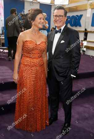 Stock Image of Evelyn Mcgee-Colbert, Stephen Colbert. Evelyn Mcgee-Colbert and Stephen Colbert arrive at the 71st Primetime Emmy Awards, at the Microsoft Theater in Los Angeles