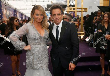 Christine Taylor, Ben Stiller. Christine Taylor and Ben Stiller arrive at the 71st Primetime Emmy Awards, at the Microsoft Theater in Los Angeles