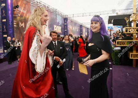 Gwendoline Christie, Kelly Osbourne. Gwendoline Christie and Kelly Osbourne arrive at the 71st Primetime Emmy Awards, at the Microsoft Theater in Los Angeles