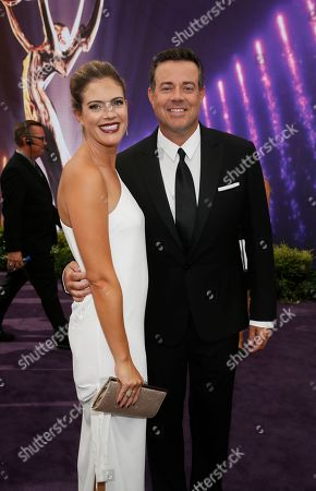 Stock Photo of Siri Pinter, Carson Daly. Siri Pinter and Carson Daly arrive at the 71st Primetime Emmy Awards, at the Microsoft Theater in Los Angeles