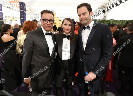 Fred Armisen, Clea DuVall, Bill Hader. Fred Armisen, Clea DuVall and Bill Hader arrive at the 71st Primetime Emmy Awards, at the Microsoft Theater in Los Angeles