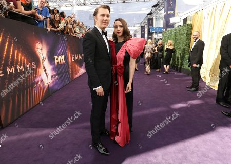 Paul Dano, Zoe Kazan. Paul Dano, left, and Zoe Kazan arrive at the 71st Primetime Emmy Awards, at the Microsoft Theater in Los Angeles