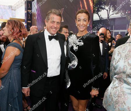 Hugh Grant, Anna Elisabet Eberstein. Hugh Grant and Anna Elisabet Eberstein arrive at the 71st Primetime Emmy Awards, at the Microsoft Theater in Los Angeles