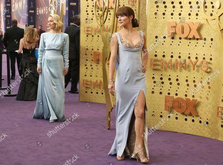 Sarah Goldberg, Emmanuelle Vaugier. Sarah Goldberg, left, and Emmanuelle Vaugier arrive at the 71st Primetime Emmy Awards, at the Microsoft Theater in Los Angeles