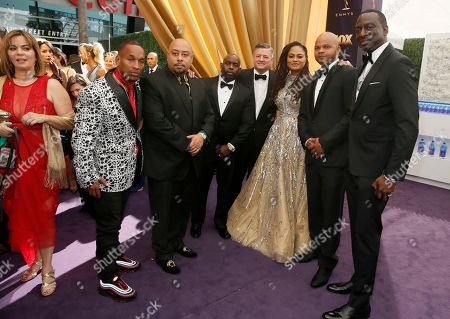 Korey Wise, Raymond Santana, Antron McCay, Ava DuVernay, Kevin Richardson, Yusef Salaam and arrive at the 71st Primetime Emmy Awards, at the Microsoft Theater in Los Angeles