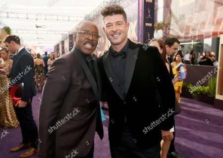 Courtney B Vance, Robin Thicke. Courtney B Vance and Robin Thicke arrive at the 71st Primetime Emmy Awards, at the Microsoft Theater in Los Angeles