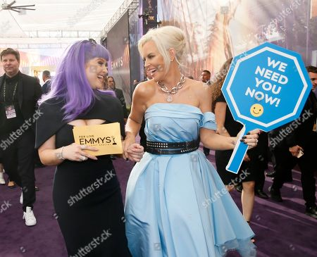 Kelly Osbourne, Jenny McCarthy. Kelly Osbourne and Jenny McCarthy arrive at the 71st Primetime Emmy Awards, at the Microsoft Theater in Los Angeles