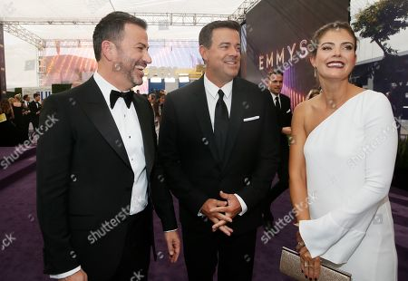 Jimmy Kimmel, Carson Daly, Siri Pinter. Jimmy Kimmel, Carson Daly and Siri Pinter arrive at the 71st Primetime Emmy Awards, at the Microsoft Theater in Los Angeles