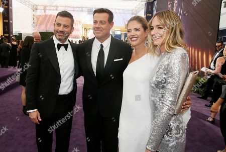 Stock Image of Jimmy Kimmel, Carson Daly, Siri Pinter, Molly McNearney. Jimmy Kimmel, Carson Daly, Siri Pinter and Molly McNearney arrive at the 71st Primetime Emmy Awards, at the Microsoft Theater in Los Angeles