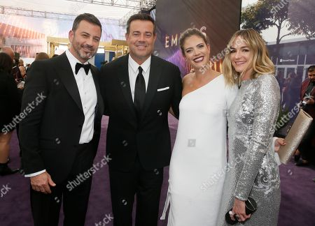 Jimmy Kimmel, Carson Daly, Siri Pinter, Molly McNearney. Jimmy Kimmel, Carson Daly, Siri Pinter and Molly McNearney arrive at the 71st Primetime Emmy Awards, at the Microsoft Theater in Los Angeles