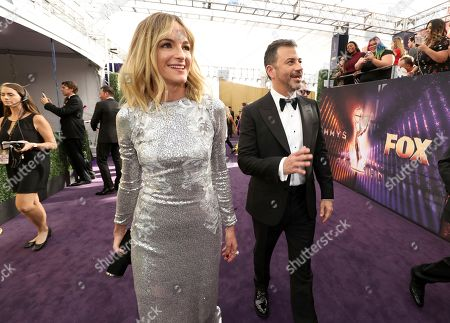 Molly McNearney, Jimmy Kimmel. Molly McNearney and Jimmy Kimmel arrive at the 71st Primetime Emmy Awards, at the Microsoft Theater in Los Angeles