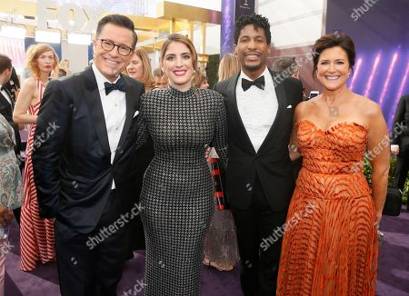 Stephen Colbert, Suleika Jaouad, Jon Batiste, Evelyn Mcgee-Colbert. Stephen Colbert, Suleika Jaouad, Jon Batiste and Evelyn Mcgee-Colbert arrive at the 71st Primetime Emmy Awards, at the Microsoft Theater in Los Angeles