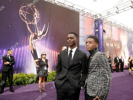 Caleel Harris, Ethan Herisse. Ethan Herisse, left, and Caleel Harris arrive at the 71st Primetime Emmy Awards, at the Microsoft Theater in Los Angeles