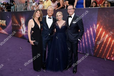 From left, Mandy Fabian, Patrick Fabian, Rhea Seehorn, and Charlie Collier arrive at the 71st Primetime Emmy Awards, at the Microsoft Theater in Los Angeles