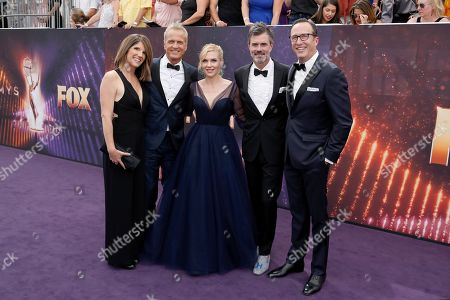 From left, Mandy Fabian, Patrick Fabian, Rhea Seehorn, Graham Larson, and Charlie Collier arrive at the 71st Primetime Emmy Awards, at the Microsoft Theater in Los Angeles